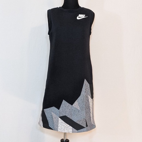Nike Dresses & Skirts - Nike Tech Fleece Black Sleeveless Geometric Dress
